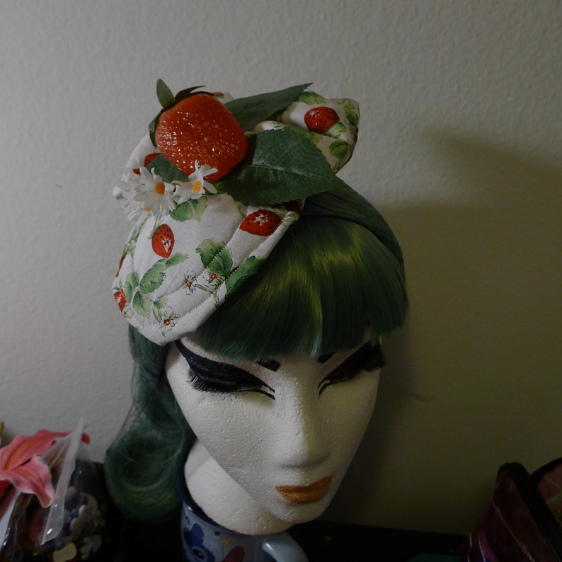 Strawberries Fascinator Mini Hat w Bow Pinup Rockabilly Summer Vintage Retro ......