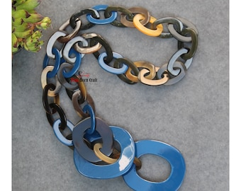Horn jewelry - chain necklace lacquer handmade in Vietnam- buffalo horn jewelry