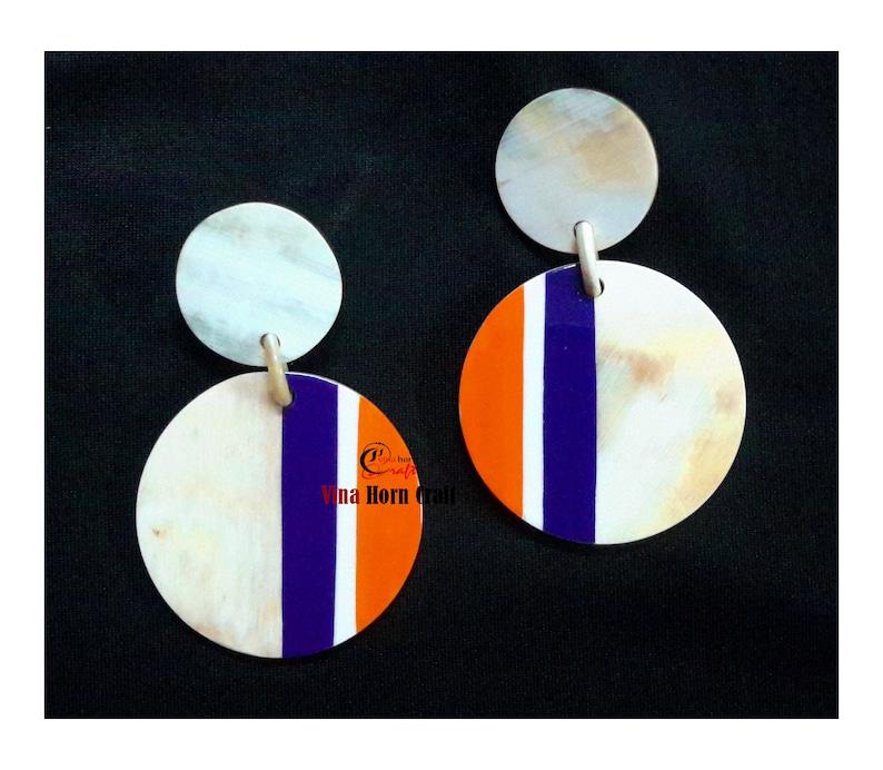 Horn earrings  horn lacque earrings image 1