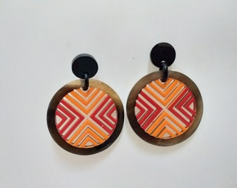 Horn earrings - horn lacque earrings