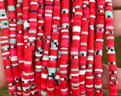 4mm vinyl heishi beads, red and black beads, polymer clay disc beads, African vinyl beads, jewelry making beads, 350-400 beads per strand