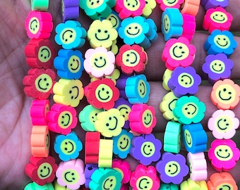 10mm smiley face beads polymer clay beads rainbow beads jewelry beads kids craft beads approximately 40 beads per strand