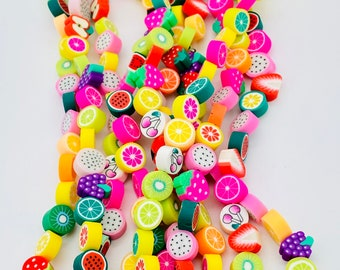 10mm Fruit shaped polymer clay beads, beads for kids, jewelry beads, fruit beads, fun beads, bracelet beads, approximately 40 beads