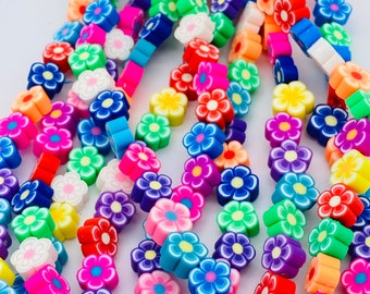 10mm flower shaped beads, polymer clay beads, rainbow beads, jewelry beads bracelet beads, beads for kids approximately 40 beads