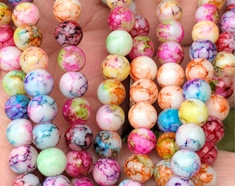 6mm Jade gemstone beads, jewelry making beads, multi color beads, macrame, rainbow beads, 1 strand per pack =65 beads