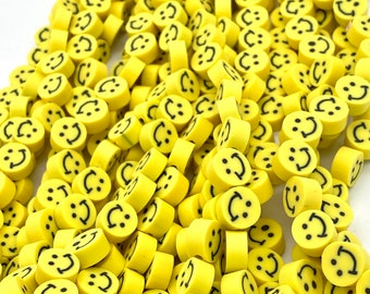10mm smiley face beads, yellow smiley face, polymer clay beads jewelry making beads bracelet beads approximately 40 beads per strand