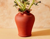 House of Harlow 1960 Creator Collab - Red Ripple Vase with Gold Luster Rim, Boho Ceramic Vase, Terracotta Pottery