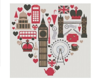 London cross stitch pattern, modern cross stitch pattern, big ben pattern, london cross stitch pattern, cross stitch patter london, pdf