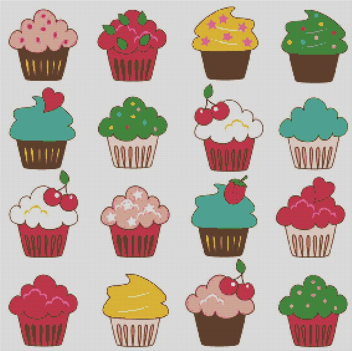 Cup Cake Design Modern Cross Stitch Pattern Cup Birthday Diy Etsy
