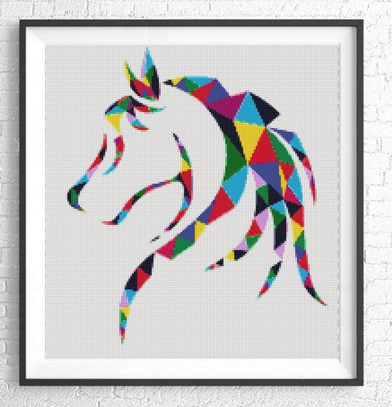 patrón de punto de Cruz de caballos silueta cruz puntada | Etsy