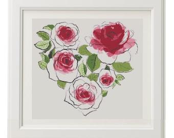 Flower Heart Cross Stitch Pattern, Valentine's day Cross Stitch PAttern, Love Cross Stitch Pattern - PDF, Instant Download