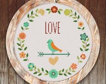 Love Bird Wreath Modern Counted Cross Stitch Pattern // Instant PDF Download