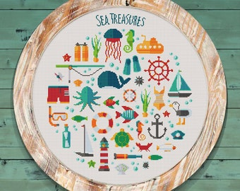 Sea Sampler Modern Counted Cross Stitch Pattern // Instant PDF Download