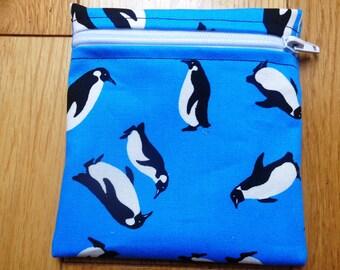 Sandwich Baggie Waterproof Lined Zip Pouch - Straw Case - Sandwich bag - Snack Bag - Bikini Bag - Lunch Bag Make Up Bag Penguin Blue