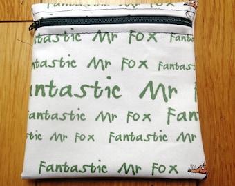 Sandwich Baggie Waterproof Lined Zip Pouch - Straw Case - Sandwich bag - Snack Bag - Bikini Bag - Lunch Bag Make Up Bag Fantastic Fox