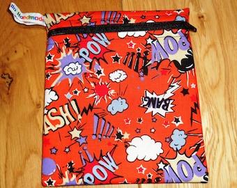 Sandwich Baggie Waterproof Lined Zip Pouch - Sandwich bag - Snack Bag - Bikini Bag - Lunch Bag Make Up Bag Pow hero Orange Small  Poppins