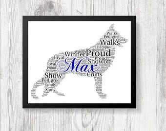 Personalised GERMAN SHEPHERD Pedigree Dog Breed Love Word Art Print Keepsake Gift