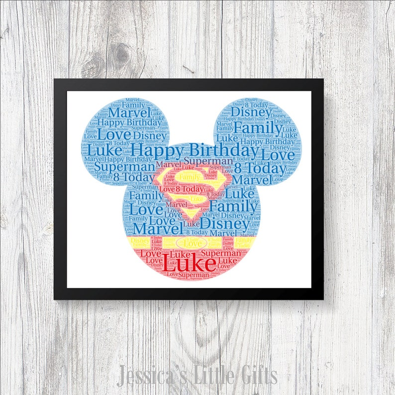 SUPERMAN WORD ART PERSONALISED WITH ANY WORDS /& COLOURS CHRISTMAS BIRTHDAY