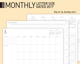 2017 Printable Monthly Calendar, Monthly Planner, Desktop Monthly calendar / Letter Size, Dated 2017.1-2018.1 / Year(Project) Planner...