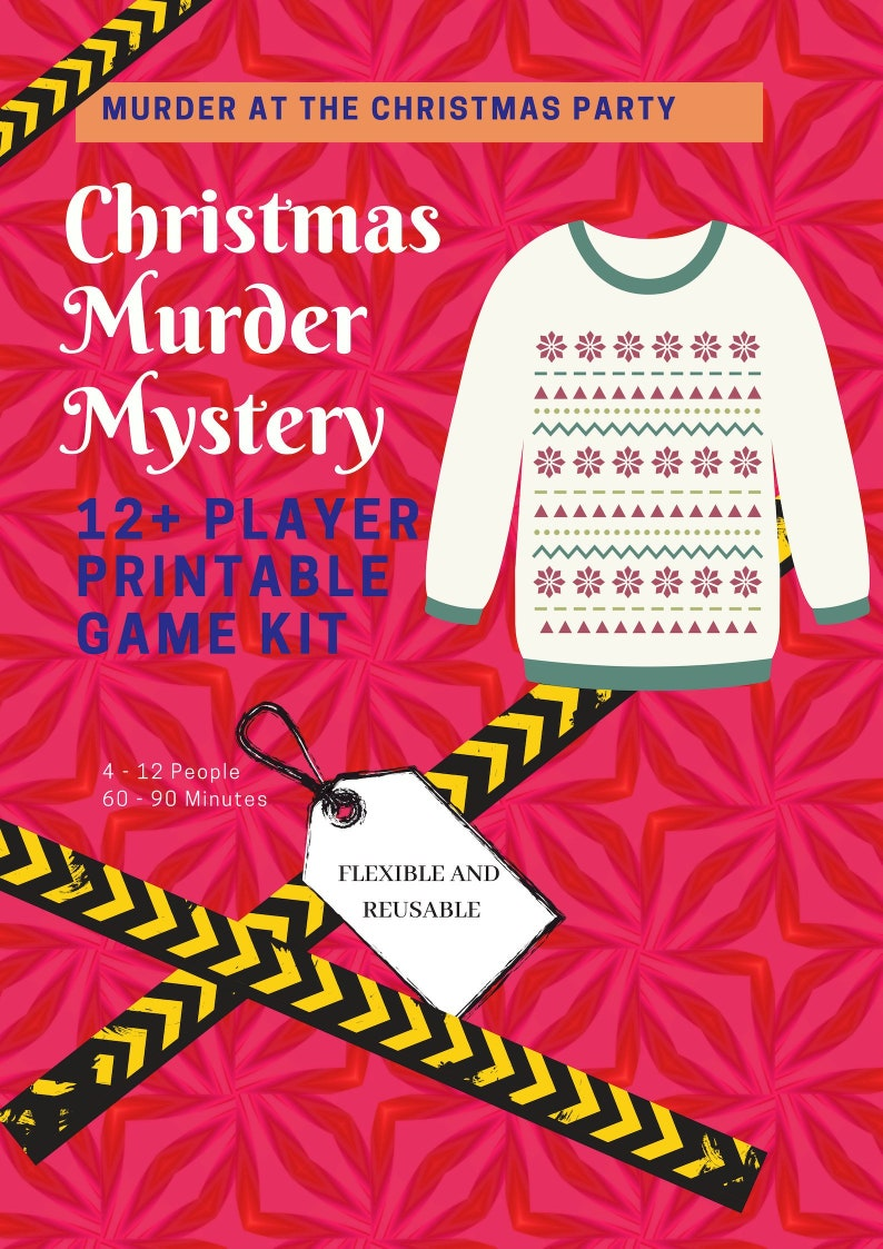 image relating to Printable Mystery Games named Murder at the Xmas Bash // Xmas Jumper Murder Secret //Printable Trip Video games // Business office solution online games //Xmas get together