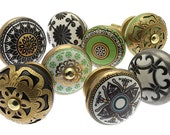 Ceramic Door Knobs Vintage Style Moroccan Green Black and Gold Set of 8