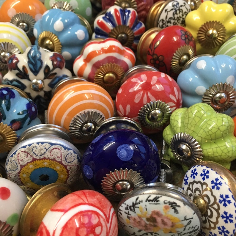 Ceramic Door Cupboard Knobs Hand Painted Patterns and Multi Colours Set of 8