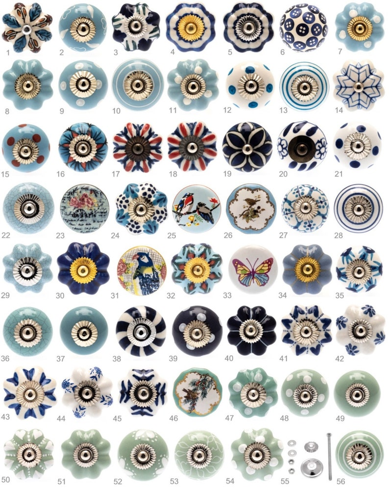 Ceramic Door Knobs Blue Turquoise Mint Greeen Vintage Birds Etsy