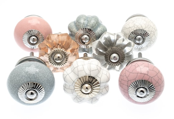 Details about  / Ceramic Cupboard Door Knobs Pastels Pinks Soft Greens and Scandi Cool Greys