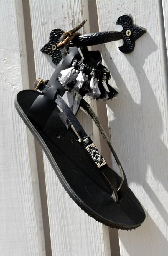 Leather Sandals Greek Sandals Women Hippie Sandals Sandals Strappy Sandals Gladiator Black Sandals Bohemian Sandals Sandals Shoes O4E1wq