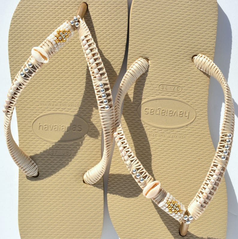 16a1cd6dbbeed Flip Flops, Gold Havaianas, Boho Sandals, Bohemian Shoes, Decorated  Sandals, Beaded Flip Flops, Beach Sandals, Hippie Sandals, Wedding Shoes