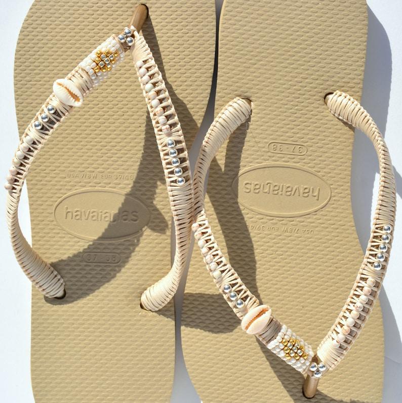 2c54322c6ec Flip Flops Gold Havaianas Boho Sandals Bohemian Shoes