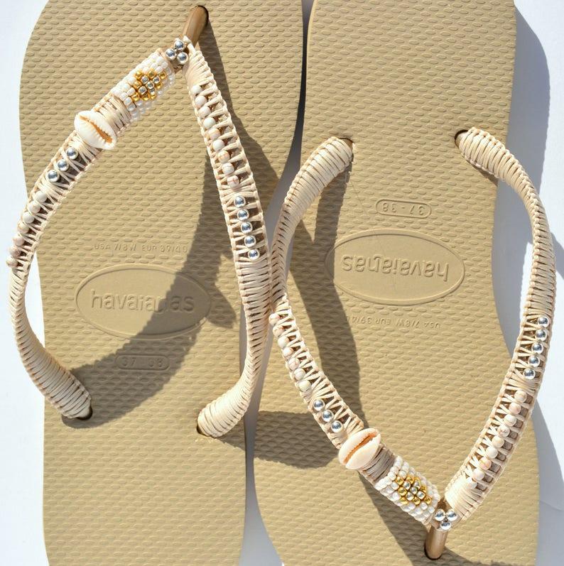 5a03f4ca2 Flip Flops Gold Havaianas Boho Sandals Bohemian Shoes