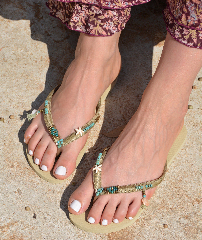 Flip Flops Boho Wedding Dress Sandals Bridal Sandals Flat -9428