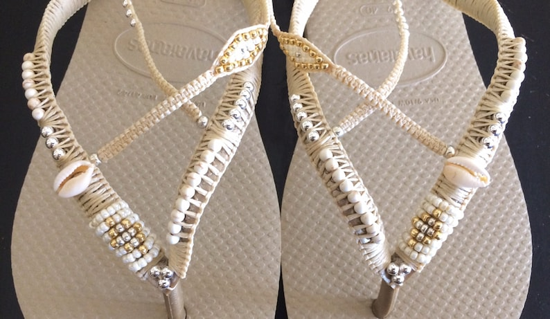 0168d2c688c23a Silver   Gold Wedding Decorated Flip Flop Sandals Flat Thong
