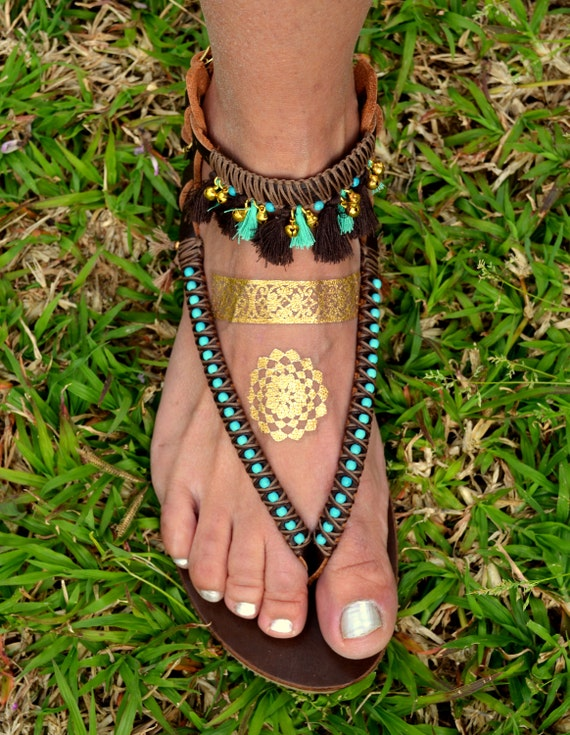 Brown Foot Sandals Tassels Hippie Bohemian Sandals Shoes Strap Boho Jewelry with Sandals Shoes Leather Boho Sandals Sandals OUwFAgq