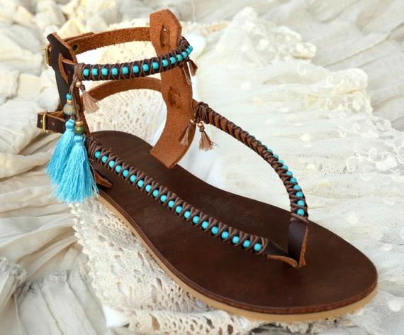 Sandals, Leather Sandals, Women Sandals, Women Shoes, Boho Shoes, Boho Sandals, Gladiator Sandals, Beaded Sandals, Greek Sandals, Bohemian