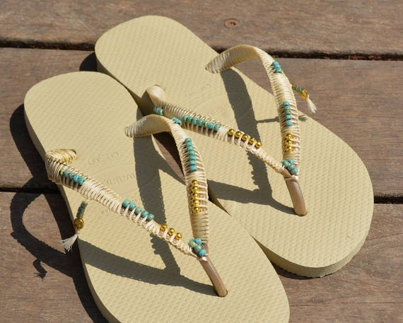 Flops Flops Flip Wedding Havaianas Wedding Gold Sandals flip bridesmaid Bohemian Beach Sandals Wedding flop Decorated Shoe Boho Flip wqX6aYC
