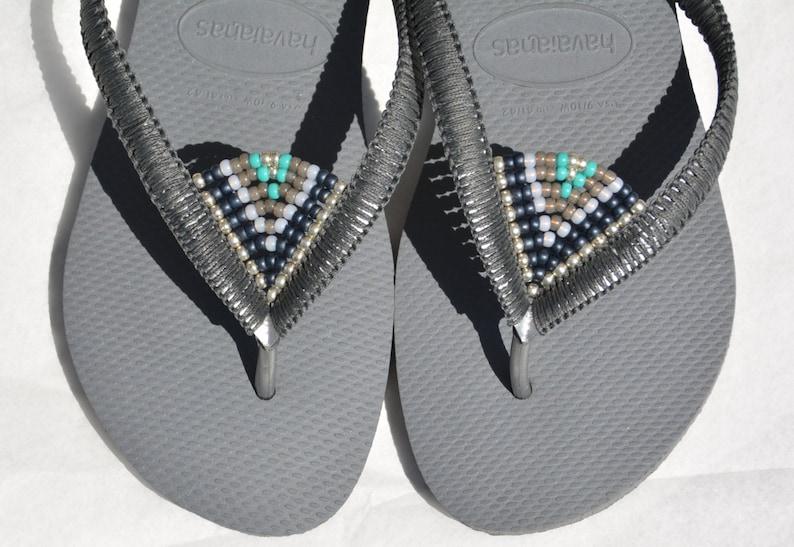 11e19aaf629a0 Flip Flops, Silver Havaianas, Boho Sandals, Bohemian Shoes, Decorated  Sandals, Beaded Flip Flops, Beach Sandals, Hippie Chic, Gipsy
