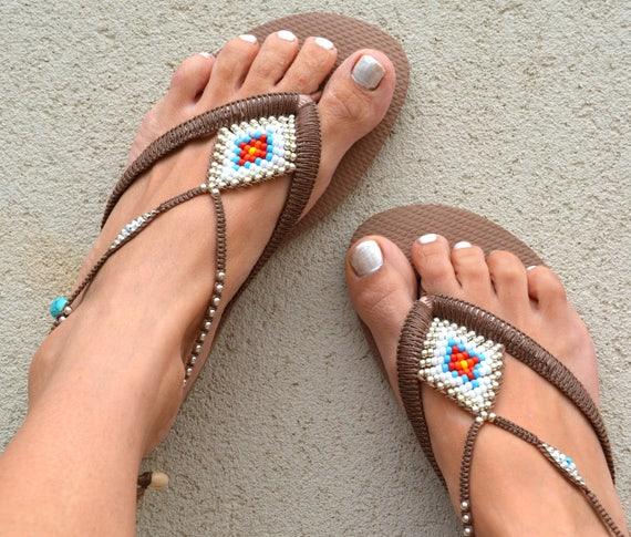 Beaded Sandals Flip Sandals Gold Sandals Bohemian Jewelry Rose Havaianas Boho Shoe Sandals Women Bohemian Flop Sandals Foot Sw1ZRS