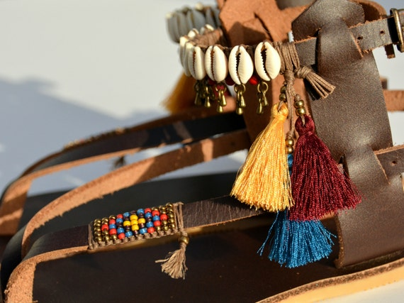 sandales en Fait femme cuir main sandales d Hippie en cuir de sandales Sandales 4AxBx6