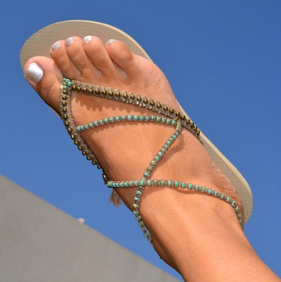 Women Beaded Sandals Shoes Boho Sandals Sandals Vegan Turquoise Shoes Wedding Shoes Flip Flops Flops Bohemian Vegan Flip Sandals CSqxBR