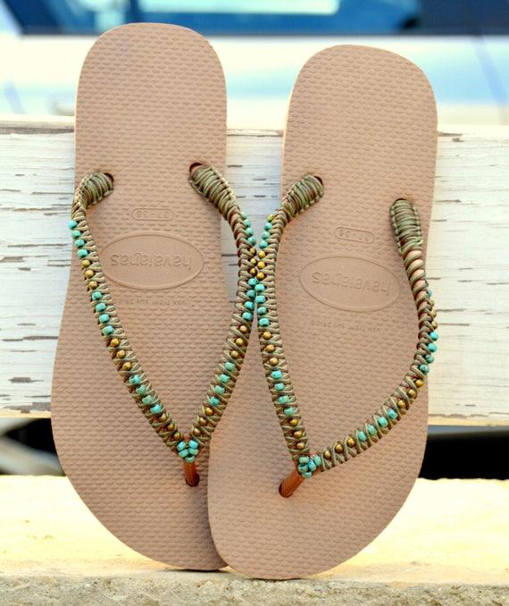 892c591947c2f Flip Flops, Havaianas, Hippie Sandals, Beaded Flip Flops, Beaded Sandals,  Rose Gols Sandals, Wedding Flop Flops, Bohemian Sandals, Boho Chic