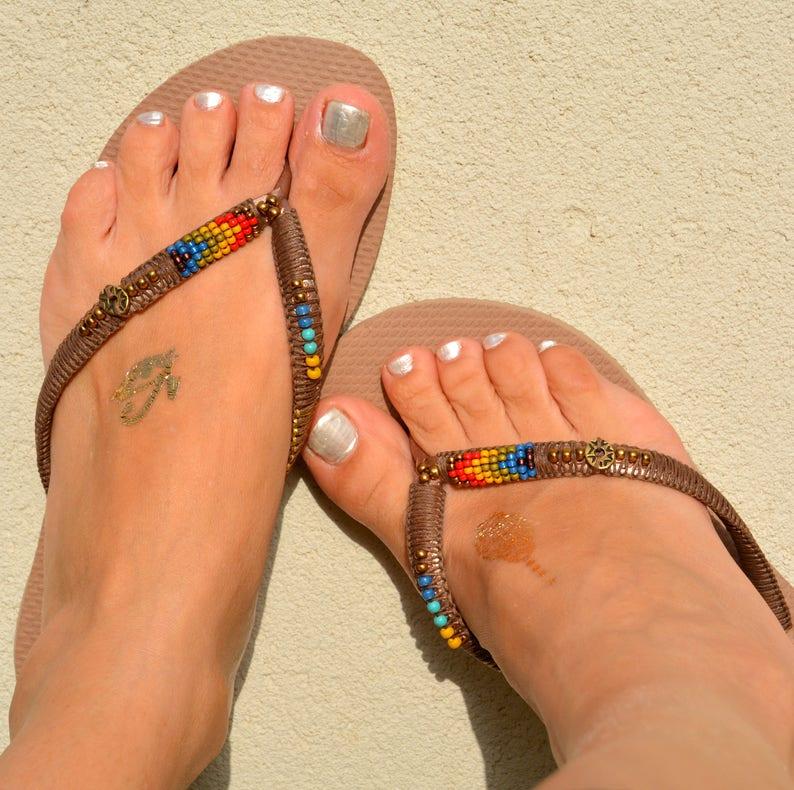 2d407800d16 Flip Flops Beaded Flip Flops Rose Gold Havaianas Decorated