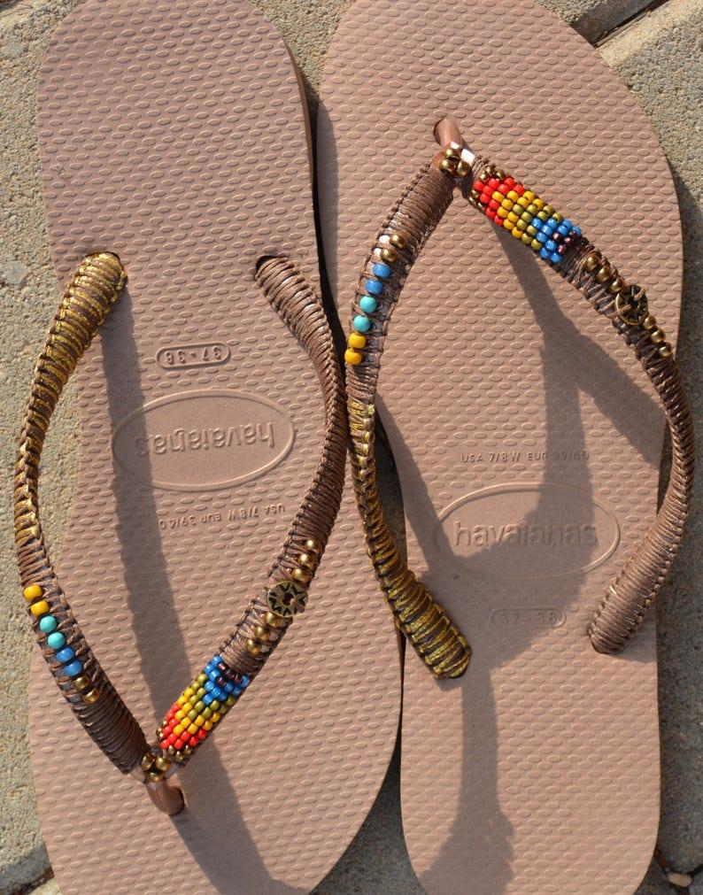 85de6ee9618174 Flip Flops Rose Gold Women Sandals Beaded Shoes Beaded