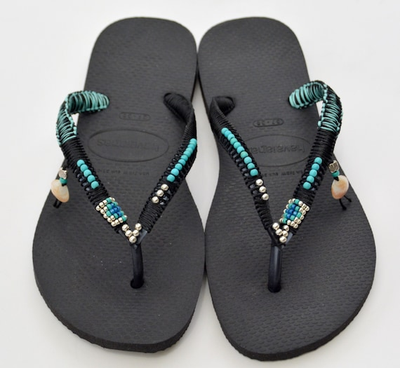 based Sandals 100 on Flip Bohemian Black Handmade Decorated Thongs Havaianas Sterling Turquoise Flat Flop Beaded Handmade amp; Silver qavzwv