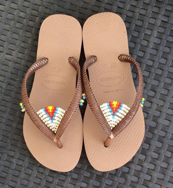 3e3ccd7252657e Multi Colored Beaded Flip Flops Bohemian Decorated Sandals based on Bronze  Rose Gold Havaianas Flats - 100% Handmade.