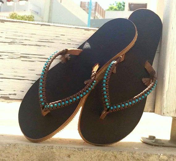 Boho Sandales Turquoise chaussures grecs en cuir Sandales sandales en Flops cuir sandales femme d sandales Flip rBPrqCwx