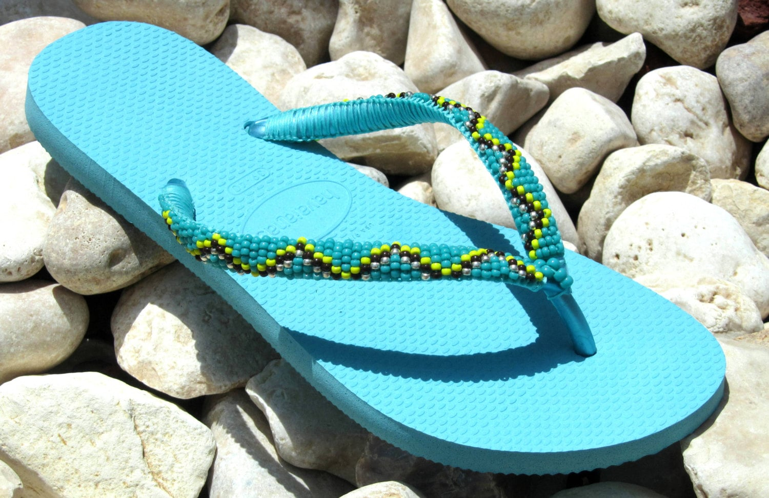 Turquoise Shoes Beaded Sandals Hippie Chic Flip Flops Flat -6020