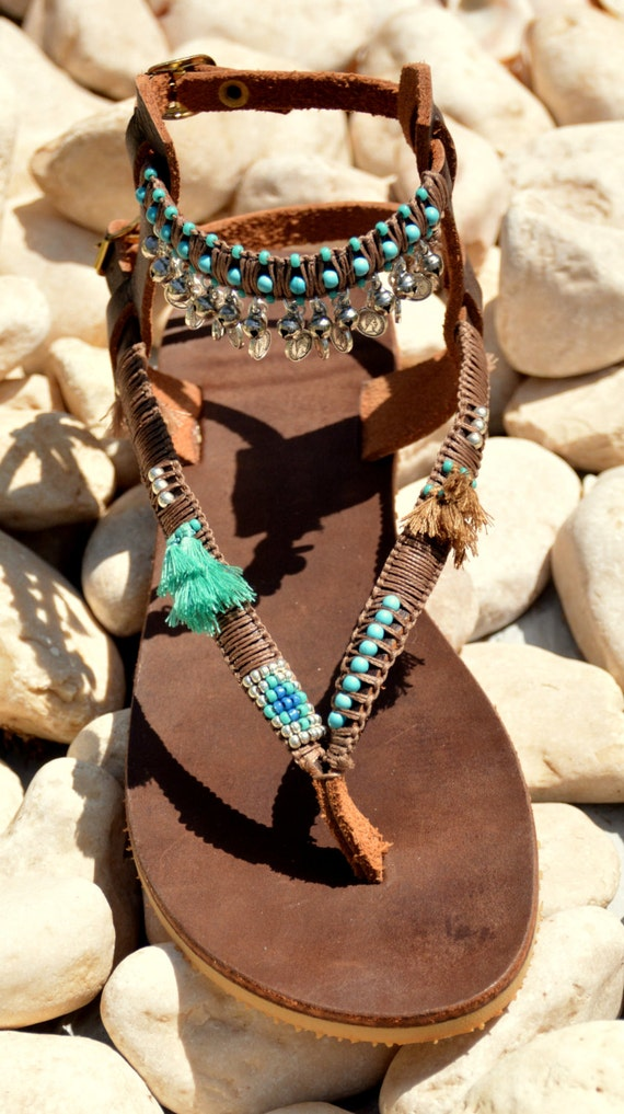 Bohemian Festival Sandals Sandals Pom Sandals Gladiator Hippie Boho Sandals Greek Sandals Sandals Pom Sandals Women Leather Sandals xqAfvwq