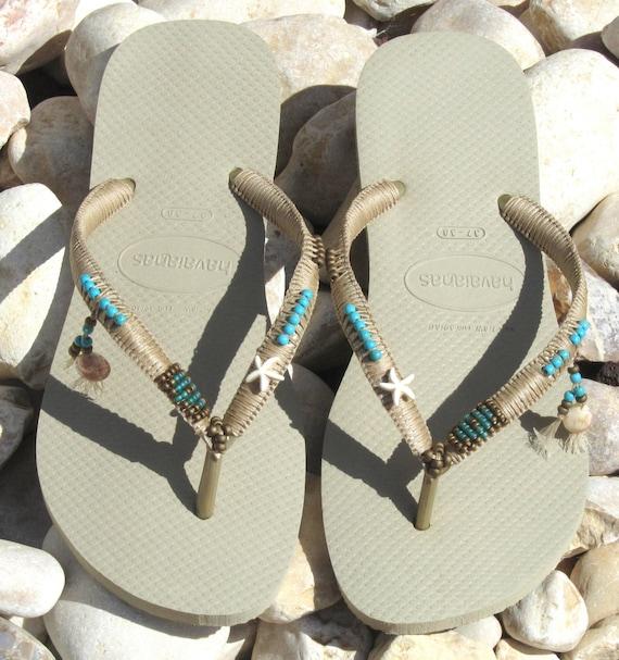 a62f4cc81375ce Havaianas Wedding Flip Flops Boho Wedding Shoe Decorated
